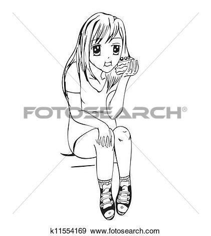 Clip Art of Anime girl eating cake k11554169.