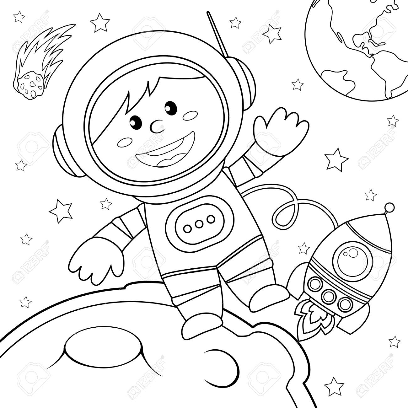 Astronaut Clipart Black And White.