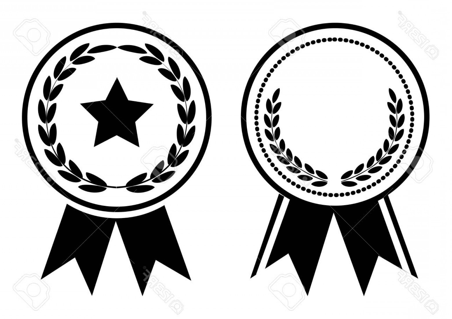 Photostock Vector Black And White Award Medal With Ribbon Vector.