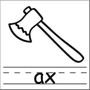 Clip Art: Basic Words: Ax B&W Labeled I abcteach.com.