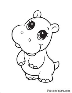 Cute Baby Animal Clipart Black And White.