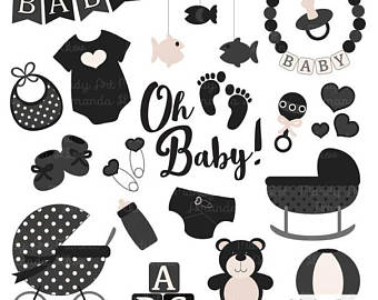 Baby shower clipart black and white » Clipart Station.