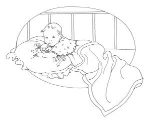 vintage baby clipart, black and white clip art, free baby graphic.