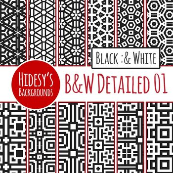 Black and White Backgrounds / Digital Paper Clip Art Set.