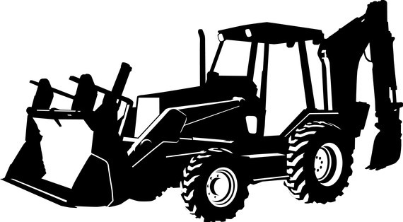 Black And White Backhoe Clipart.