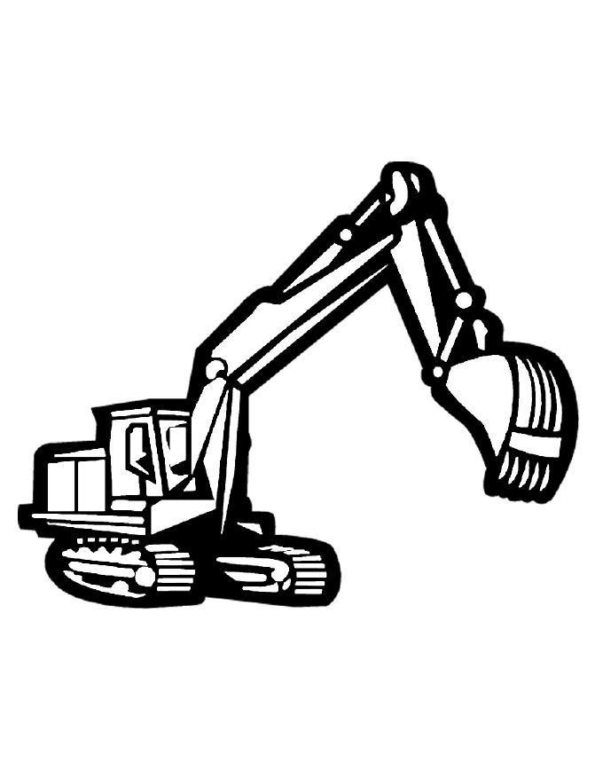Backhoe Loader Black And White Clipart.