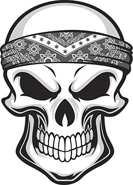 Amazon.com: Black and White Skull with Bandana Headband.