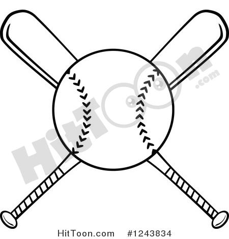 Baseball Clipart #1243834: Crossed Black and White Baseball Bats and.