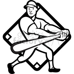 black and white baseball player batting side low diamond clipart.  Royalty.
