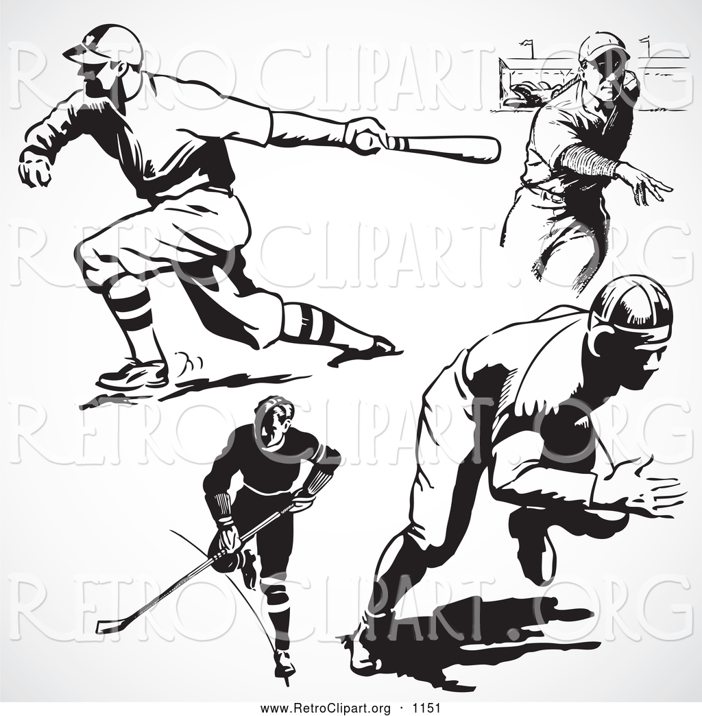 Retro Clipart of a Retro Black and White Hockey and Baseball Players.