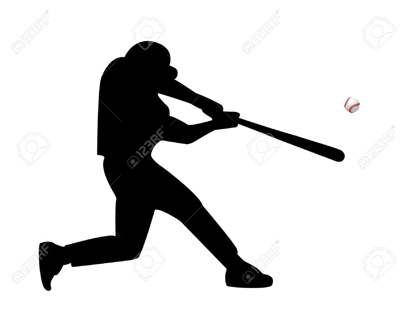baseball player hits the ball on a white background.