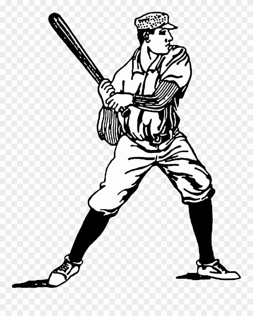 Vintage Baseball Player Clipart.