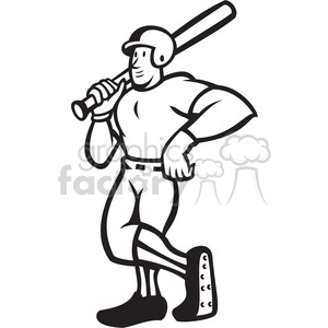black and white baseball player standing shield clipart. Royalty.