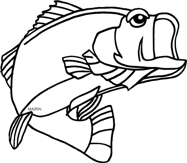 Svg Black And White Bass Fishing Clipart Black And.