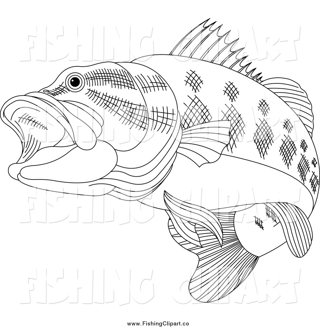 Clip Art of a Black and White Bass Fish by Pushkin.