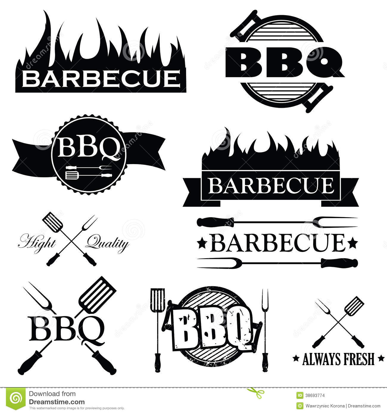 Set Of Bbq Icons Isolated On White, Stock Vector.