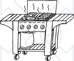 Clipart Black And White Gas Bbq Grill.