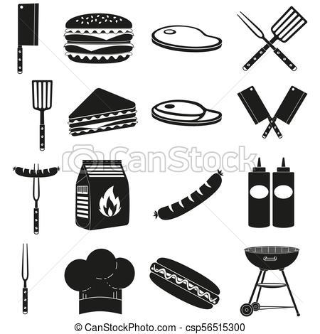 Black white bbq outdoors 16 element silhouette set.