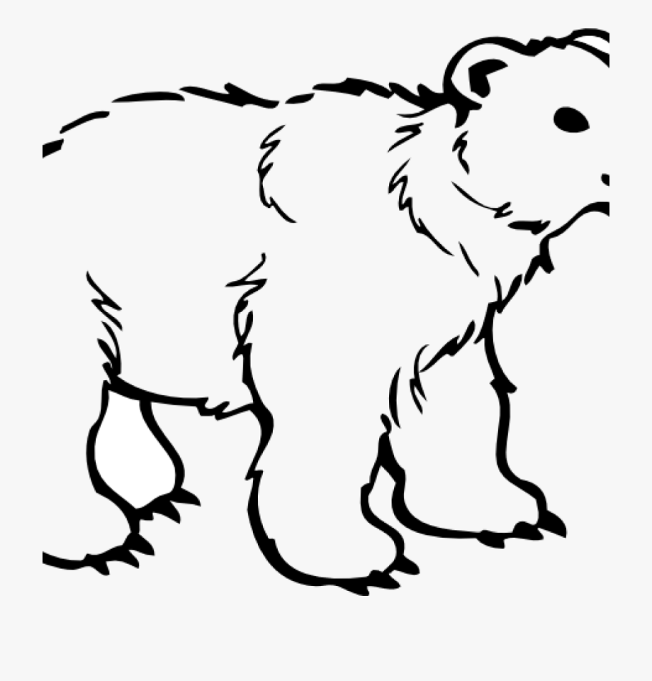 Black And White Bear Clip Art.