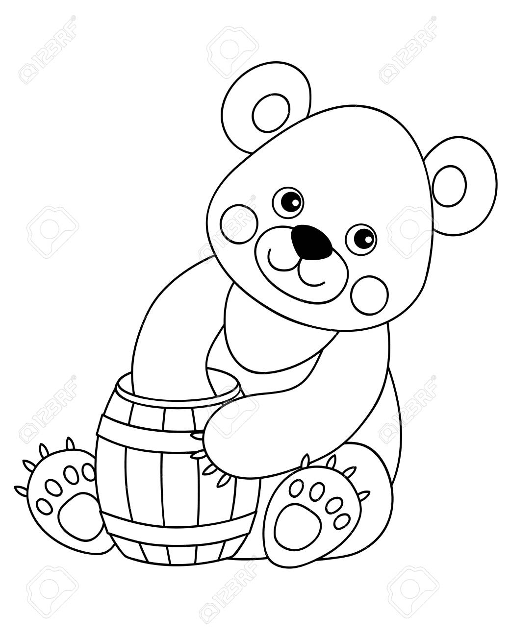 Vector black and white cute cartoon bear with barrel of honey.