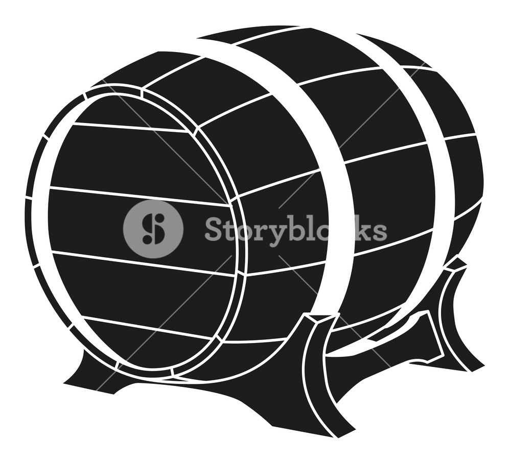 Black and white beer barrel silhouette Royalty.
