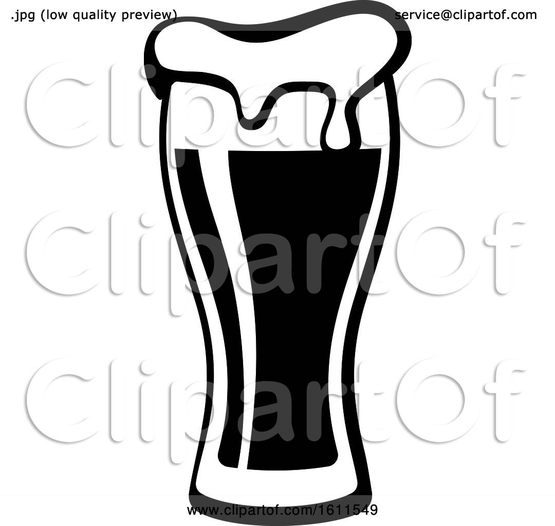 Clipart of a Black and White Beer.