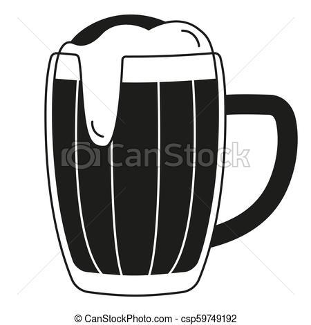 Black and white beer mug silhouette.