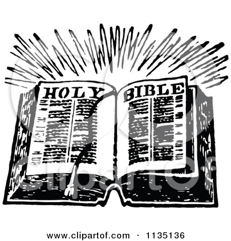 Clipart of a Retro Vintage Black and White Holy Bible.