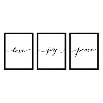 Andaz Press Unframed Black White Wall Art Decor Poster Print, Bible Verses,  Love Joy Peace, 3.