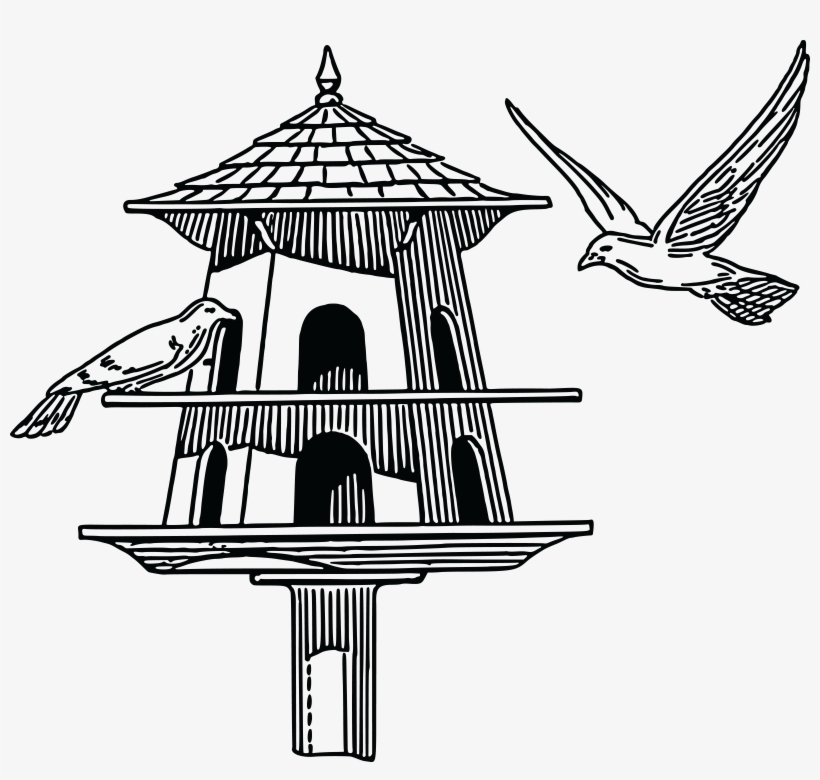 Free Clipart Of A Black And White Bird Feeder House.