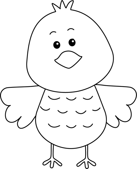 Cute Black and White Bird Clip Art.