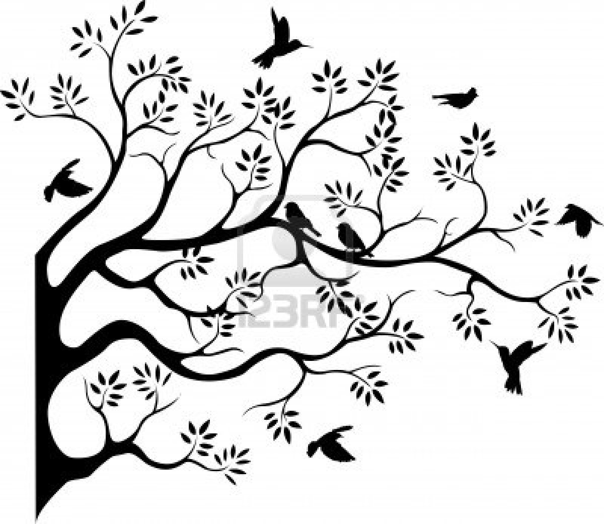 Beautiful Tree Silhouette With Bird Flying Royalty Free Cliparts.