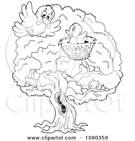 Bird In A Tree Clipart Black And White.