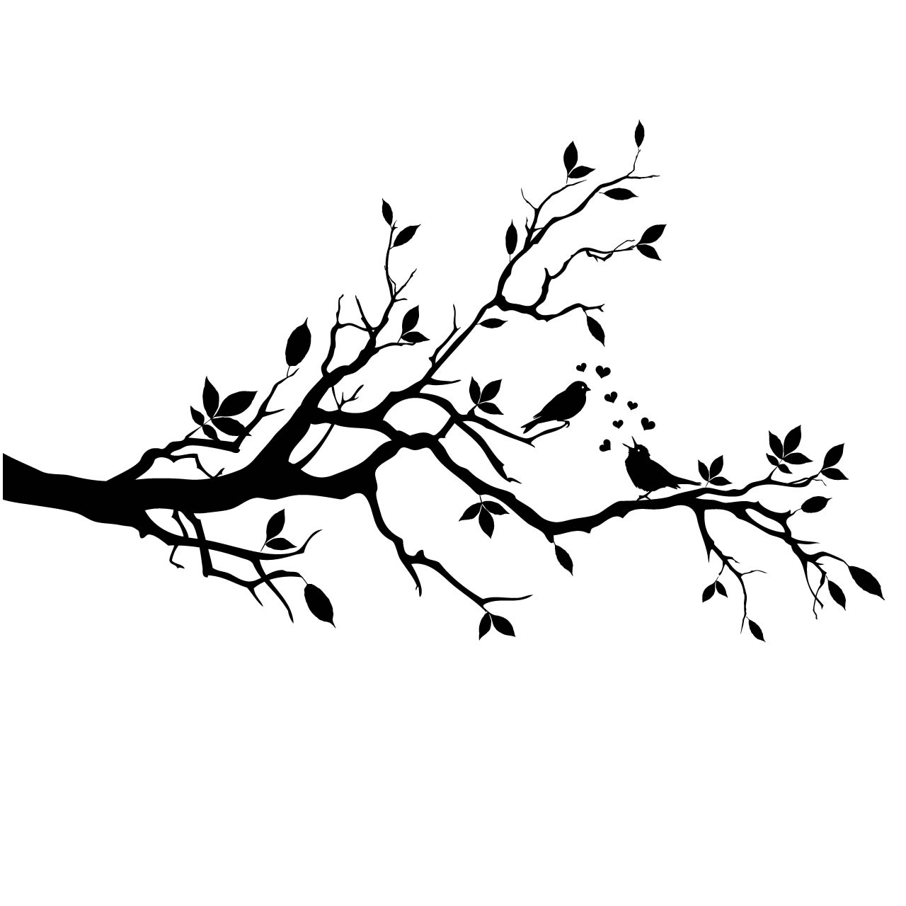 Tree With Birds Clipart Black And White.