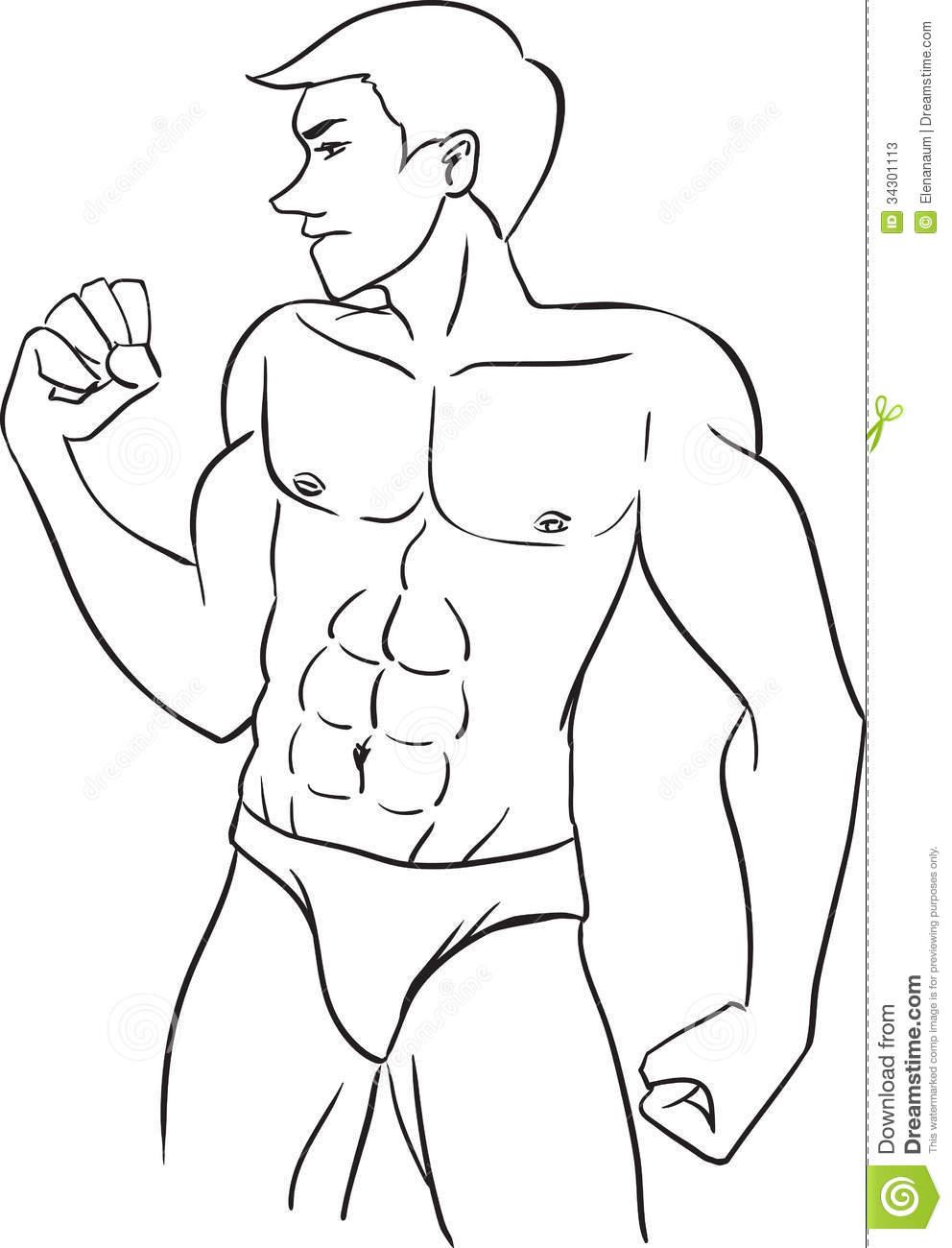 Boy Body Torso Clipart Black And White.