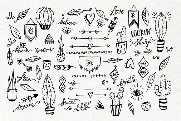 Boho cactus feather arrow clipart.