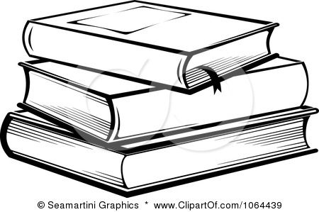 clip art books black and white.