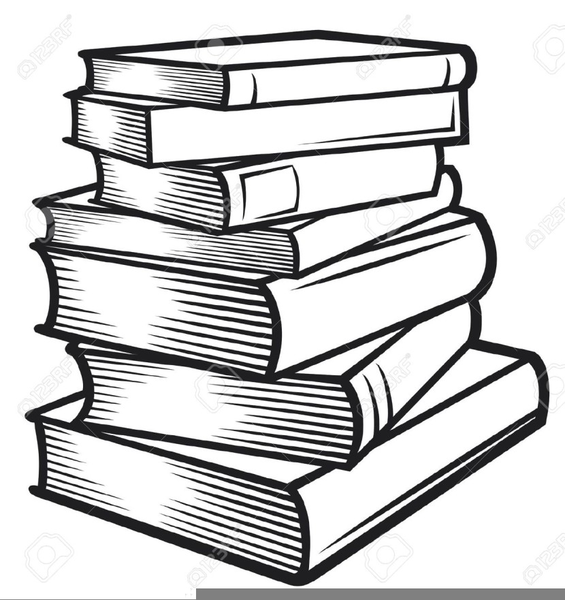 Stack Of Books Clipart Black And White.