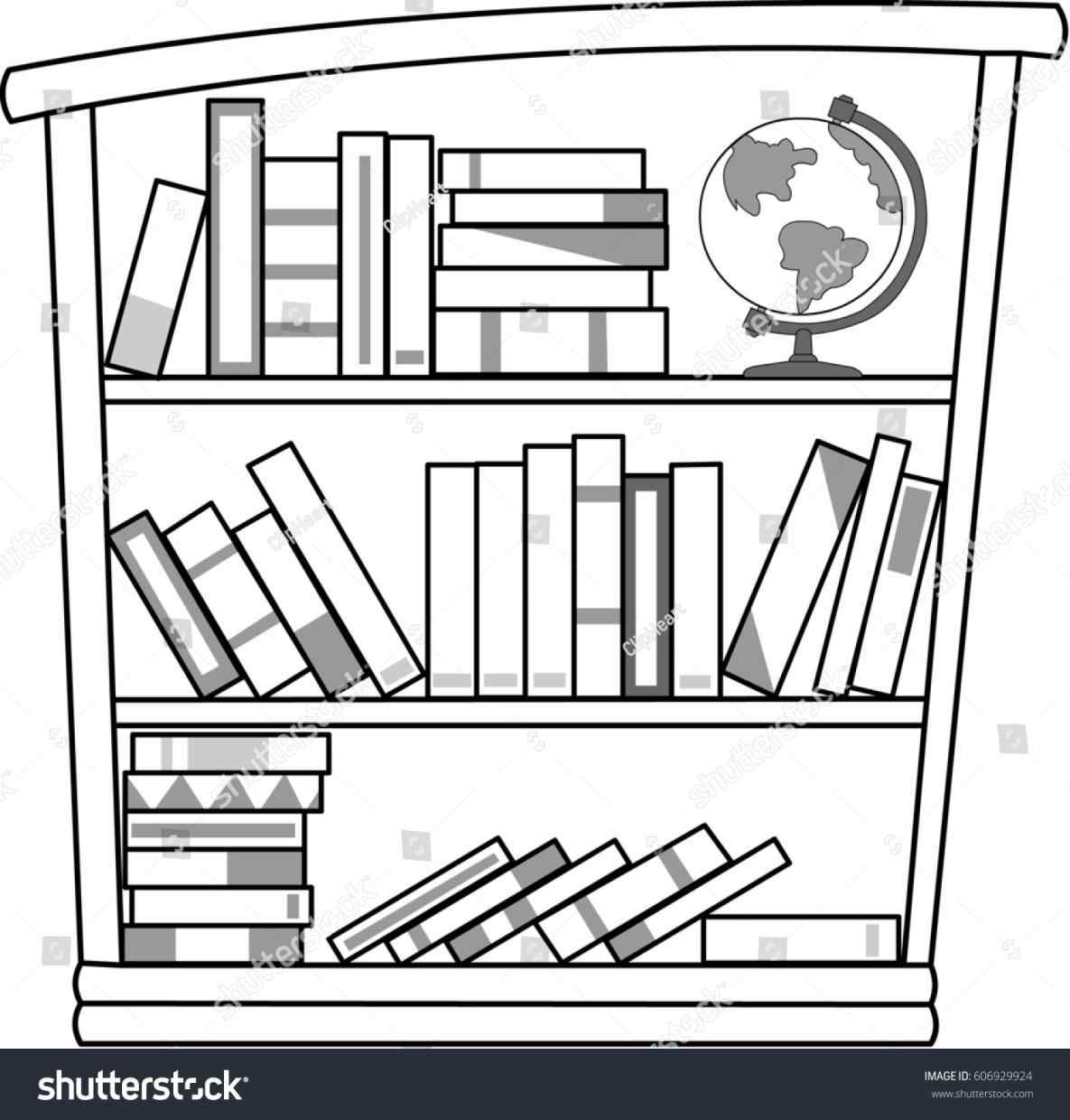 Black And White Bookshelf Clipart.
