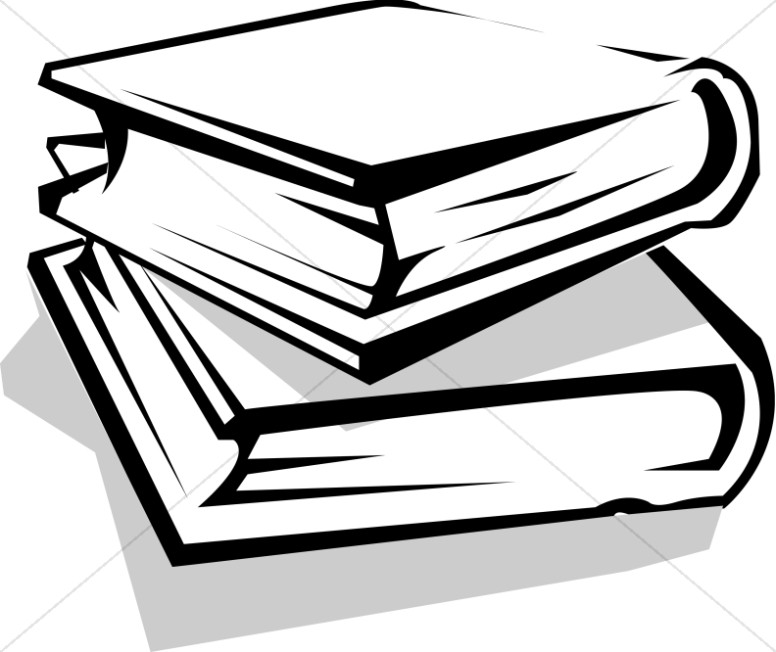 Library Books Clipart Black And White.