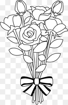 Free Clip Art Black And White Flower Bouquet.