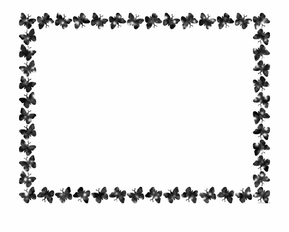 Free Download Butterfly Black And White Border Clipart.