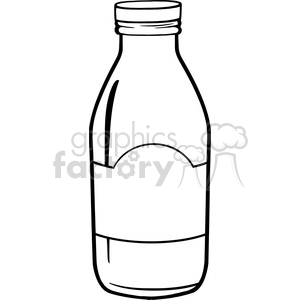 Royalty Free RF Clipart Illustration Black And White Cartoon Milk Bottle  clipart. Royalty.
