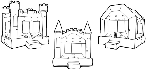 Black and white bounce house clipart.