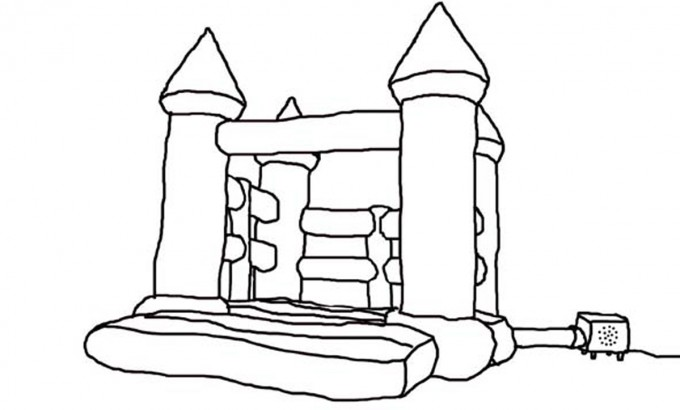 Bounce House Clipart Black And White.