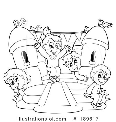 Bounce House Black And White Clipart.