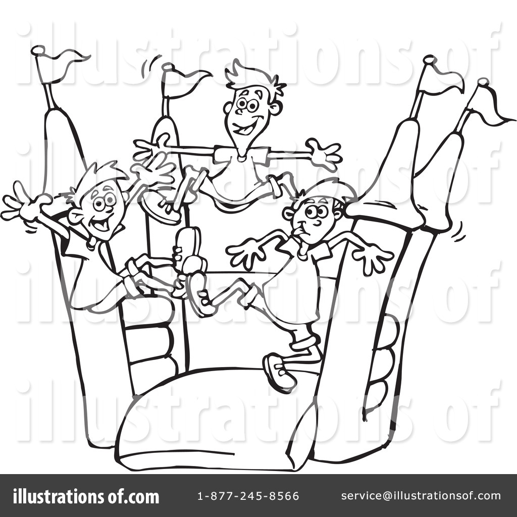 Bounce House Slide Clipart Black And White.