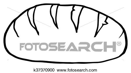 Black And White Loaf Bread Clipart.