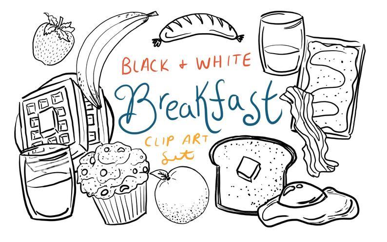 Black and White Breakfast Clip Art, hand drawn breakfast clip art, hand  drawn clip art, commercial use clip art, brunch clip art.