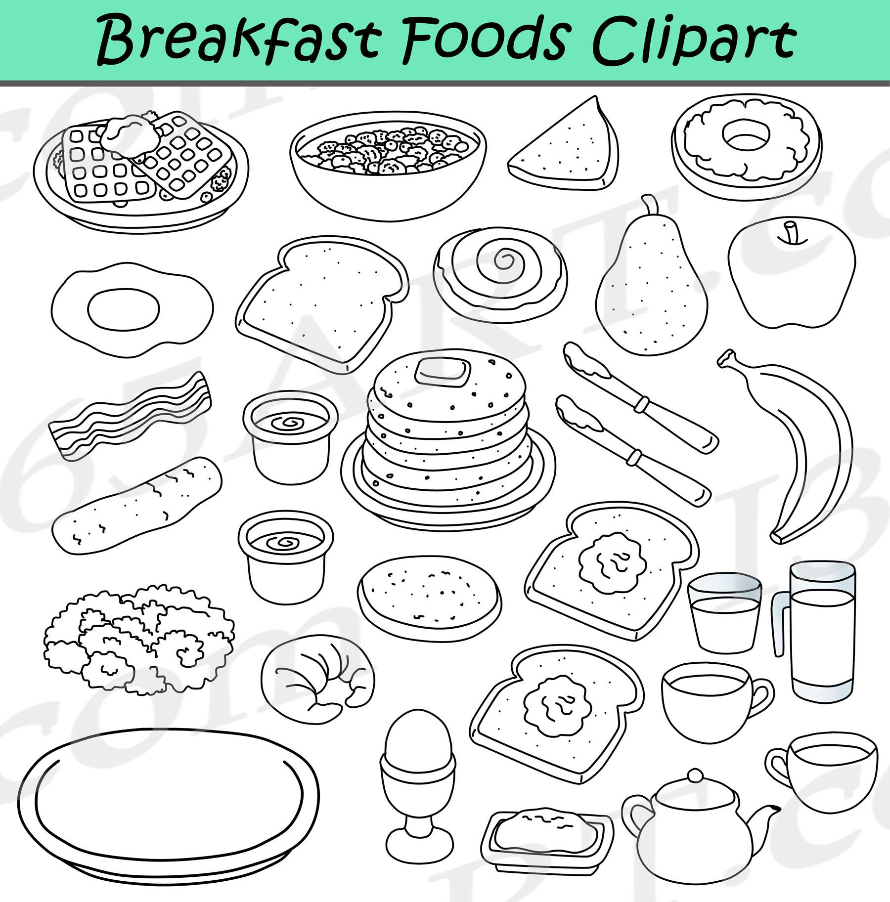 Breakfast Foods Clipart Bundle.
